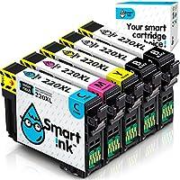 Smart Ink 再生インクカートリッジ Epson 220 XL T220 220XL Workforce WF-2630 WF-2650 WF-2750 Expression Home XP-320 XP-420 XP-424プリンター用 ブラック C/M/Y 5マルチパック