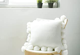 "OSVINO Soft Knitted Tassel Throw Pillow Cover Super Soft Pillow Sham Cushion Cover for Bedroom Living Room 18""x18"" White 2019BMFZ-085A"