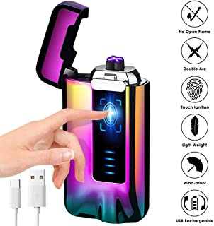 USB Electric Lighter, KIMILAR Windproof Lighter Rechargeable Micro-USB Interface Plasma Electric Dual Arc Flameless Lighter with Battery Indicator for Candle Fireworks etc. (Rainbow)