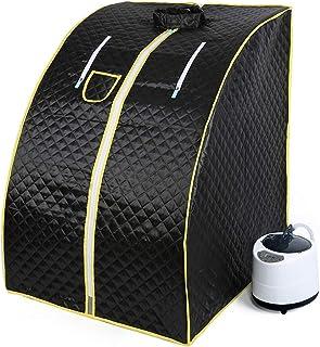 YIFAA 1000W Sauna à Vapeur,Portable Home Sauna Infrarouge Spa Tente 98x70x80cm (Noir)