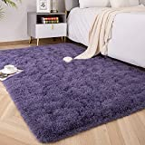 Foxmas Ultra Soft Fluffy Area Rugs for Bedroom Kids Room Plush Shaggy Nursery Rug Furry Throw Carpets for Boys Girls, College Dorm Fuzzy Rugs Living Room Home Decorate Rug, 4ft x 6ft, Grey Purple