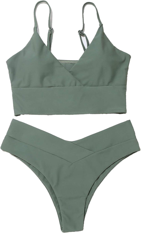 SOLY HUX Women's Spaghetti Strap V Neck Bikini Bathing Suit 2 Piece Swimsuits