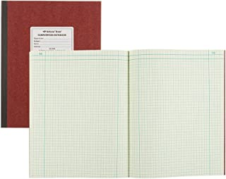NATIONAL Brand Computation Notebook, 4 X 4 Quad, Brown, Green Paper, 11.75 x 9.25 75 Sheets (43648)