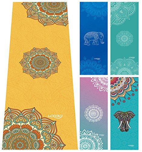 Toalla de Yoga, Mat Toalla con Smart esquina bolsillos y elástico Loop, antideslizante Yoga caliente toalla para Bikram, pilates, fitness 65x 183cm por ucooly, mujer, Mandala-Yellow