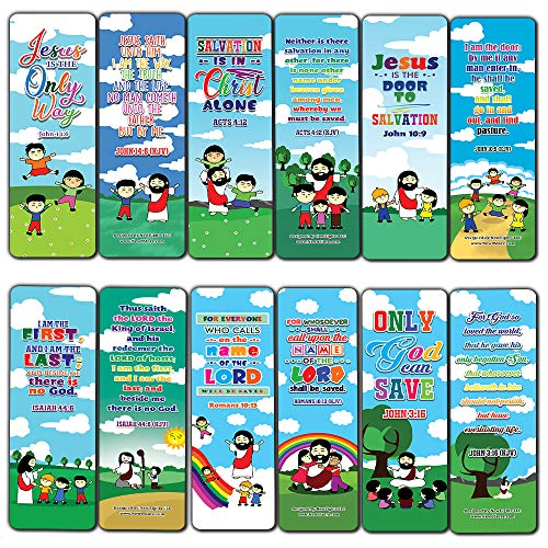 Jesus is The Way KJV Bookmarks Cards for Kids (30-Pack) - Stocking Stuffers for Boys Girls - Children Ministry Bible Study Church Supplies Teacher Classroom Incentives Gift