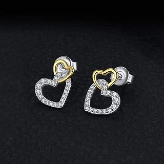 Love Heart Stud Earrings 925 Pendientes de Plata esterlina para Mujer Pendientes Joyería de Moda