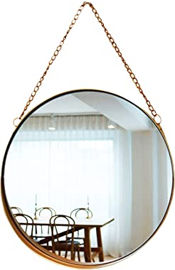 April box-Decorative Hanging Wall Mirror - Small Vintage Mirror for Wall - 10 Inch Gold Metallic Frame Mirror - Premium Quali