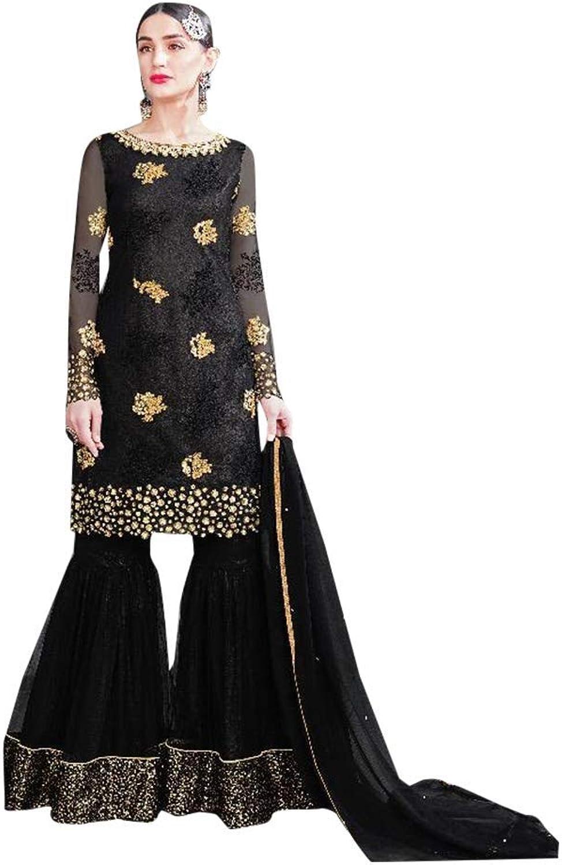 Wedding wear Black Heavy Embroidered Net Garara suit for Women Indian Muslim Reception dress Halfsewn 7570