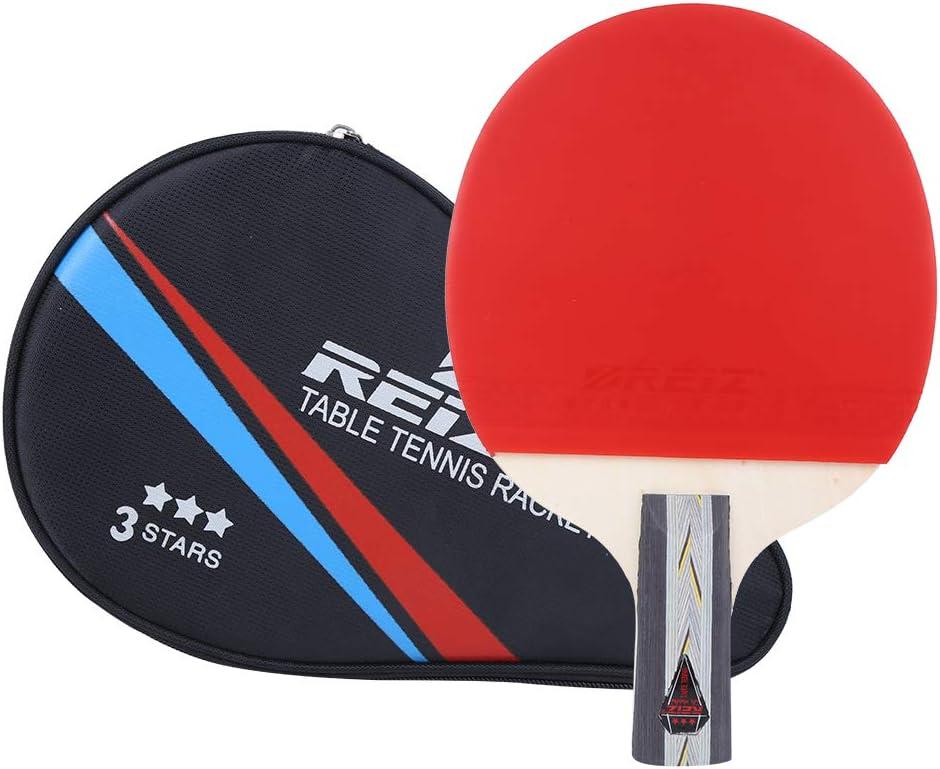 Palas Ping Pong Entrenamiento Competición Mango Corto Raqueta De Tenis De Mesa Pong Paddle Equipo Deportivo con Bolsa De Almacenamiento Goma Ofensiva