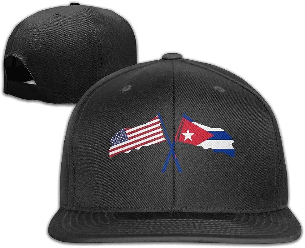 LOVB ZLAO American Flag and Cuba Flag Unisex Adjustable Snapbacks Baseball Caps Hip-hop Cap Flat Bill Cap