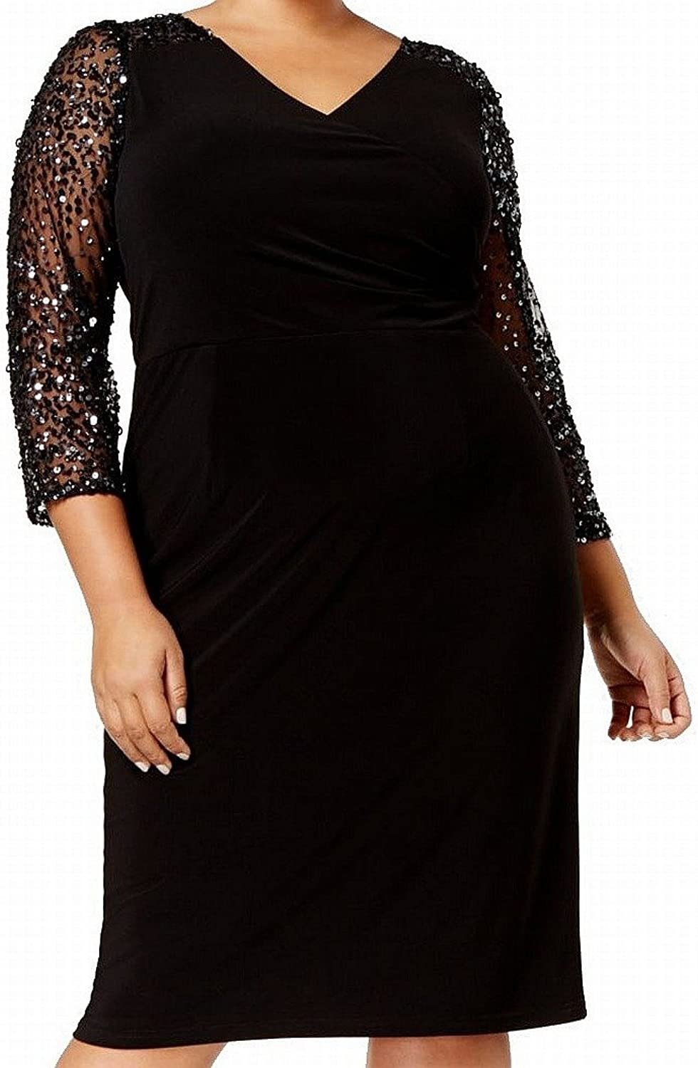 Adrianna Papell Womens 3 4 Sleeves KneeLength Cocktail Dress