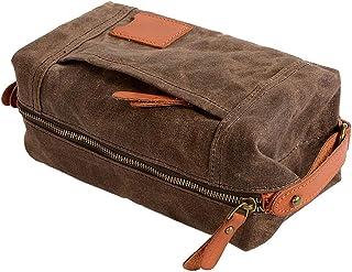Baosity Retro Canvas Women Men Toiletry Travel Bag Shaving Dopp Case Makeup Wash Bag - Coffee
