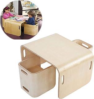 EBTOOLS Table et 2 Chaises pour Enfants Multifonctionel Ensemble de 3 Meubles Enfants Ensemble 1 Table et 2 Chaises en Boi...
