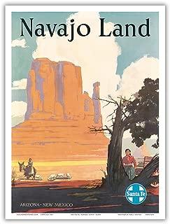 Navajo Land - Arizona, New Mexico - Santa Fe Railroad - Navajo Nation, Monument Valley - Vintage World Travel Poster by Elms c.1954 - Master Art Print - 9in x 12in