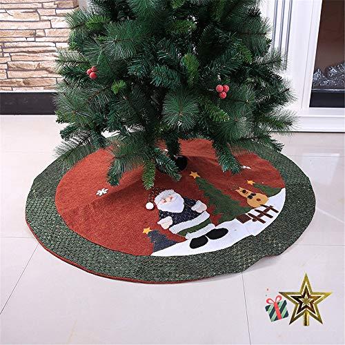 Odot Weihnachtsbaum Rock Dekoration, Decke Weinachtsdeko 105cm Rund Weihnachtsbaumdecke Weihnachtsbaum Röcke Ornaments für Weihnachten Baum Rock Deko Schutz (105cm,Rot)