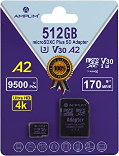 Amplim 512GB MicroSDXC A2 4K Video UHS-I U3 V30 C10, R/W 100/95 MB/s, Micro SD Memory Card with Adapter, Nintendo-Switch, ...