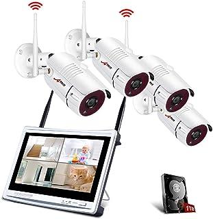 【Todo en uno】Kit Cámaras de Seguridad Inalámbricas con 12 Monitor LCD ANRAN Kits de Vigilancia NVR WiFi 4CH 1080P con 4PCS 2.0MP Cámaras IP CCTV Acceso Remoto Detección de Movimiento1TB HDD