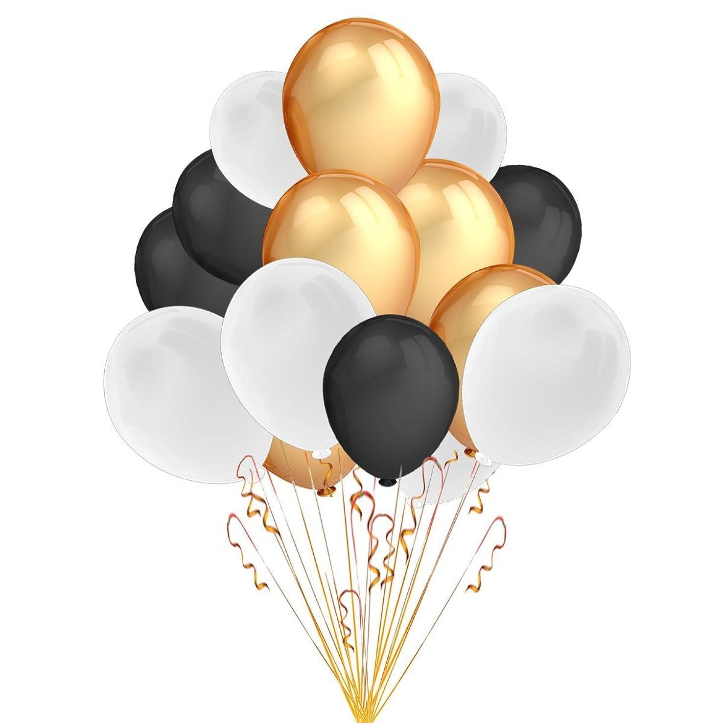 Aquila 100 Gold Black & White Pearl Balloons - 12