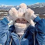 Miwaimao - Gorro de lana para otoño e invierno (3 piezas, color beige, tamaño: sombrero+babero + guantes)