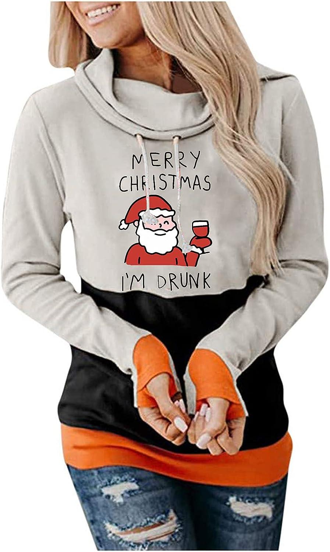BOIYI Womens Chritmas Graphic Hoodies Pullover Cowl Neck Long Sleeve Hooded Sweatshirts Casual Funny Cute Santa Sweaters