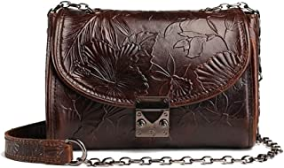 Women's New Leather Oil Wax Leather Fashion Retro Shoulder Messenger Bag Candys house (Color : Brown)
