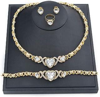 مجموعة مجوهرات نسائية من جيففور 001 من أساور الصداقة المطلية بالذهب عيار 14 قيراط لأمي القلائد والأقراط والأقراط والهدايا