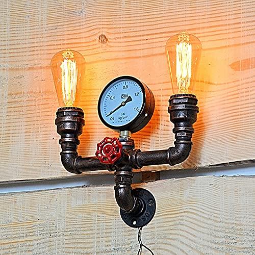 LANMOU Lámparas de Pared Tubo de Agua Vintage Luz de Pared Industrial Antiguo con Manómetro y Grifo, 2 Casquillos Estilo Steampunk E27 Aplique Pared Loft Interior para Bar Cafe, Bronze