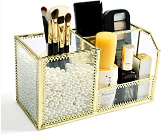 Luggage Cosmetic Cases Cosmetic Storage Box Glass Makeup Brush Storage Tube Beauty Eyebrow Brush Finishing Tools Desktop Finishing Rack Lipstick Storage Box (Color : Clear, Size : 20.5cm*9cm*11cm)