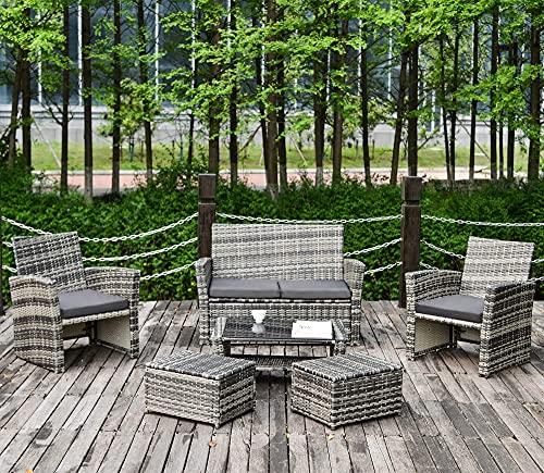 QWEPOI Rattan Garden Furniture Sets, Outdoor Patio Corner Sofa Set, 6 PCS Lounge Set, Anti-UV Rattan Weaving, Washable Fire-resistant Soft Cushions, Thicked Glass Tabletop, Grey