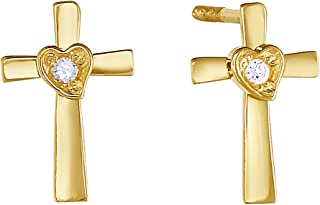 bb975b794 14k Gold Solitaire CZ Tiny Cross & Heart Stud Earrings for Girls with  Secure Screw-