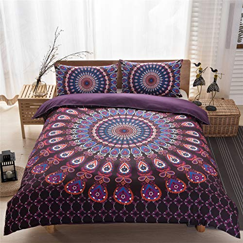 YYSZM Bedding Home Textiles Bohemian Ethnic Style Microfiber Fabric Hypoallergenic Easy-To-Clean Three-Piece Suit 1 Quilt Cover 2 Pillowcases