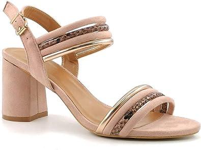 ANGKORLY - Scarpe Moda Sandali Boemia Elegante Tacco Alto Donna Multi-Briglia Stampa Animalier Fibbia Tacco Blocco Alto 8 CM