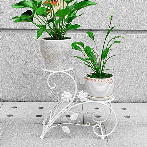 Étagères d'angle Balcon étage échelle pots de fleurs, salon intérieur et extérieur fleur grilles, fer de style européen Green Lantern fleur broches, multicolore sélection ( Couleur : Blanc )
