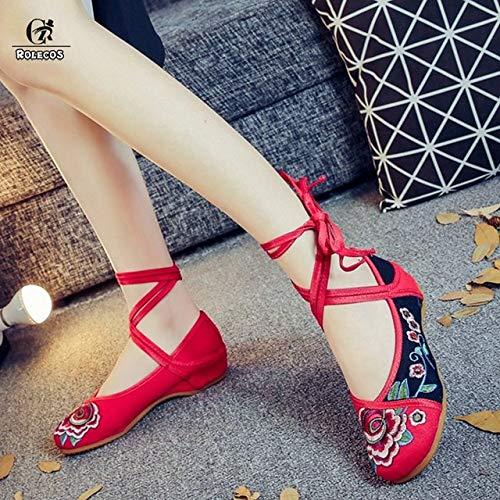 Rolecos Game Lol Cosplay Zapatos Ahri Cosplay Zapatos El zorro de nueve colas Bordado Mujeres Retro Chino Tranditional Zapatos de baile 39 como la imagen