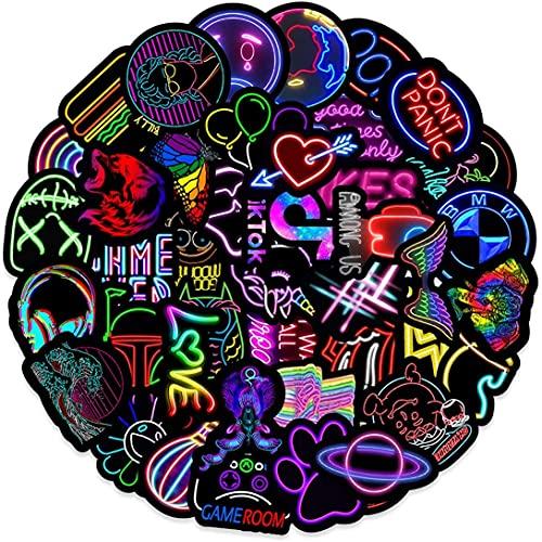 MARSFORCE Neon Graffiti Aufkleber, Wasserdicht Vinyl Stickers für Laptop Wasserflaschen Skateboard Gepäck Auto Motorrad Fahrrad Gitarre PS4 Koffer Snowboard Handy Pad [50 Stück Pack]