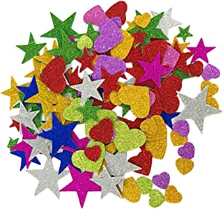 STOBOK Colorful Glitter Foam Stickers Self Adhesive Stars Heart Shapes Glitter Stickers For Kids Arts Craft Diy Projects,2...