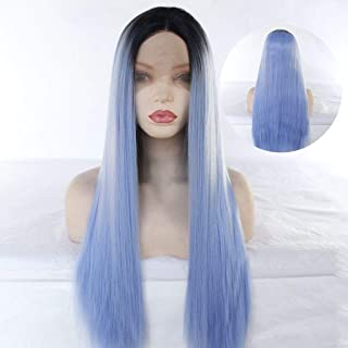 1B/Long Silky Straight/Yaki Lace Front Wig Synthetic Hair Wigs 24'' Synthetic Natural Long Wigs For Women (Light Blue)