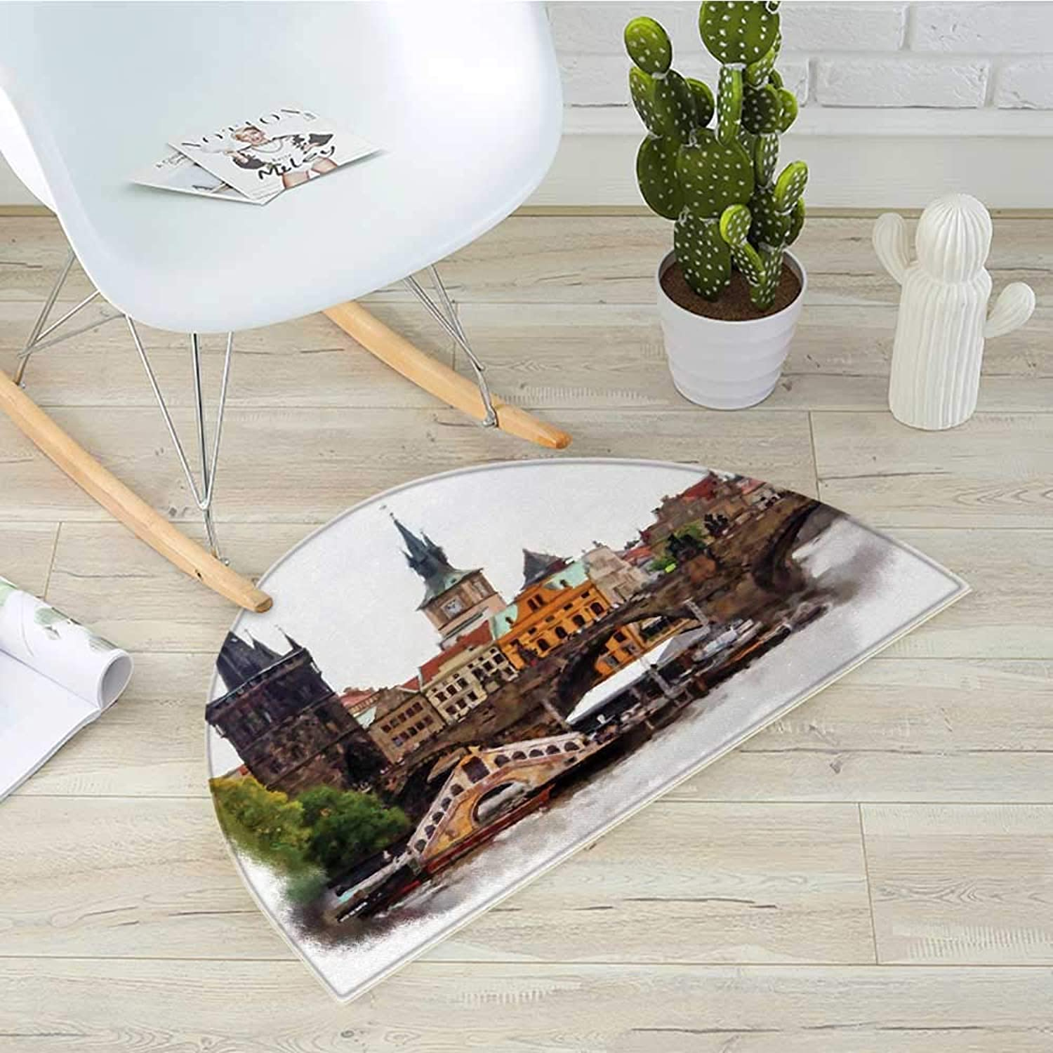 Scenery Semicircular CushionEuropean Country Landscape with Houses and River Watercolors Style Artistic Print Entry Door Mat H 35.4  xD 53.1  Multicolor