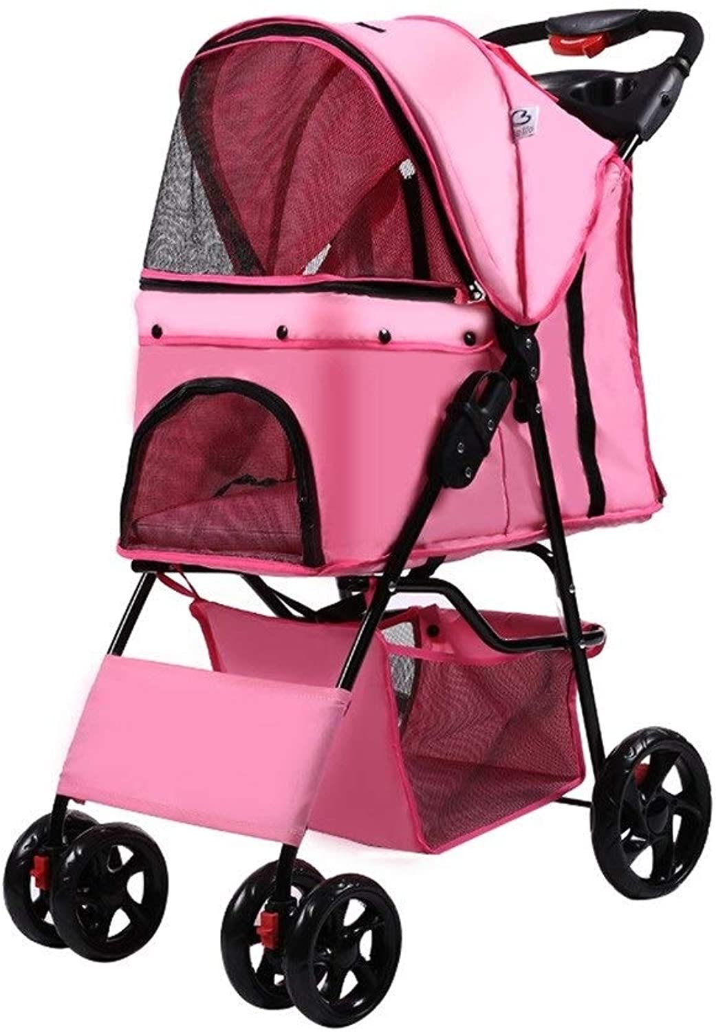 Dog Pushchair, With Rain Cover Stroller Pram Carrier Pet Outdoor Travel For Cat Trolley Puppy Jogger Cart (color   Pink)