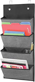 mDesign Soft Fabric Over Door Hanging Home Office Storage Organizer, 4 Large Cascading Pockets - Holds Office Supplies, Pl...