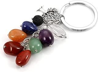 MANIFO Natural 7 Chakra Crystal Gemstone Key Chain w/Lava Stone Tree of Life Charm, Reiki Healing Key Ring