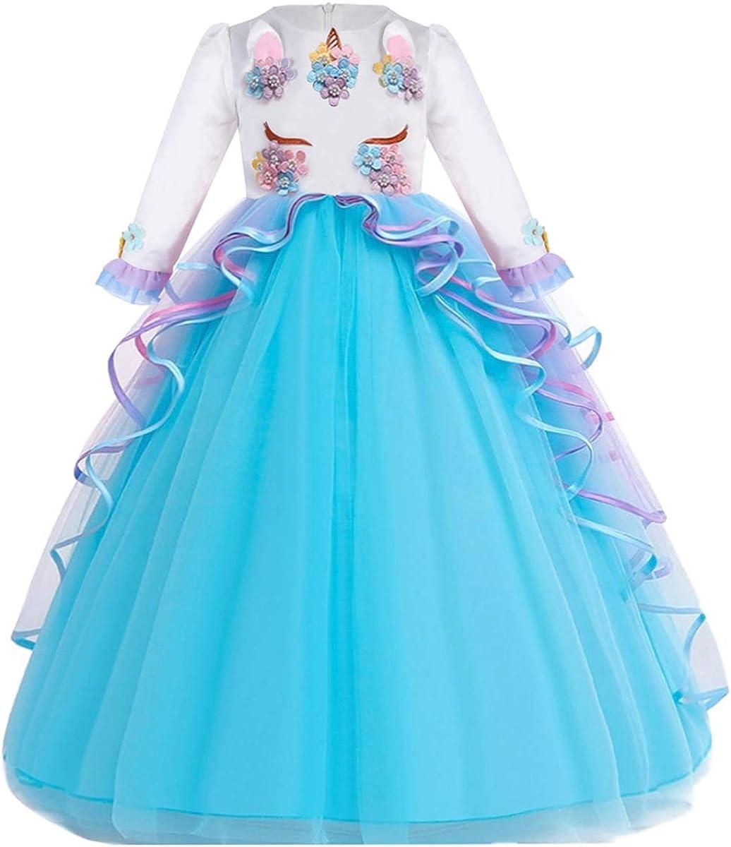 MYRISAM Girl's shipfree Unicorn Ranking TOP15 Birthday Princess Tulle Long Dress Sleeve