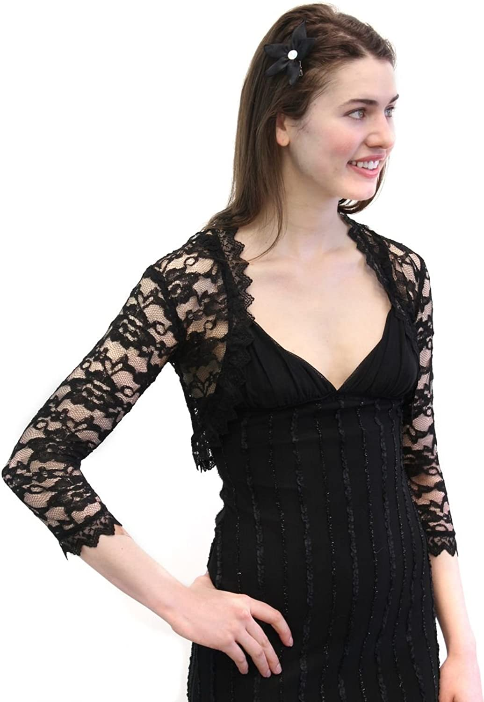 Black Lace Bolero Jacket with Medium Sleeve 3XL