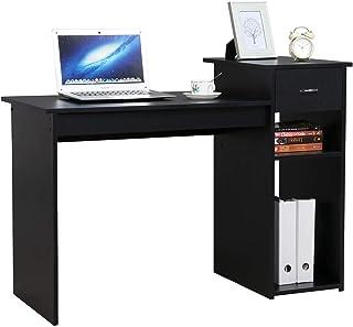 Yaheetech Bureau Informatique avec Tiroir Meuble de Bureau Table de Travail pour Ordinateur 112 x 50 x 82 cm 1 Tiroir et 2...