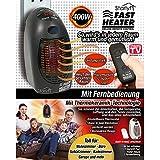 Starlyf Fast Heater Deluxe Mini-chauffage portable et puissant avec télécommande, 400W, en céramique, technologie thermo-céramique, Noir ou blanc., noir