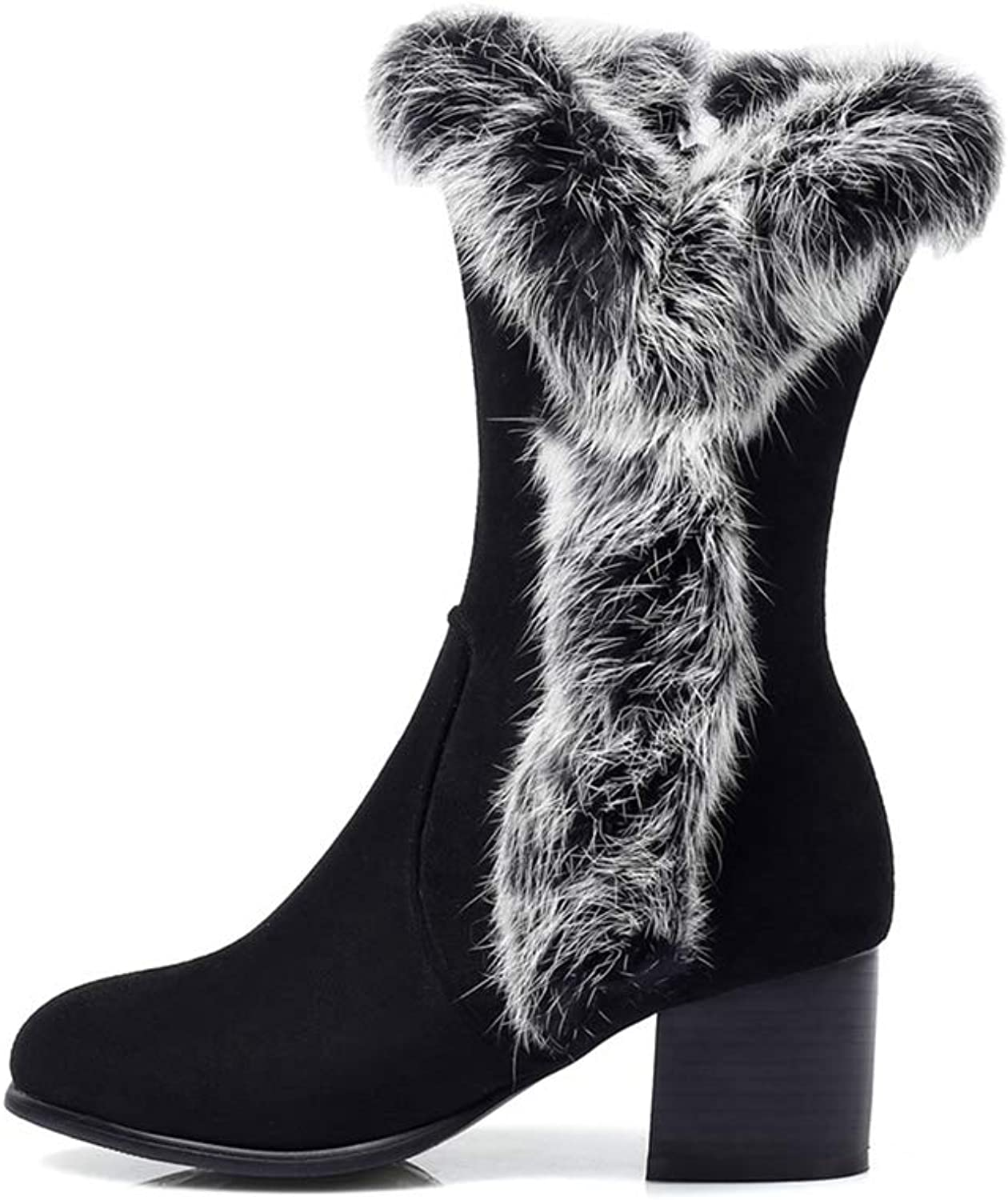 T-JULY Winter Mid Calf Boots for Women Faux Fur Leisure shoes Female Zipper Square Heel Big Size Boots