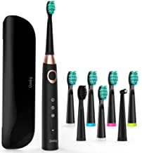 Sonic Electric Toothbrush with 8 DuPont Brush Heads & Travel Case, Dentist Recommended Sonic Toothbrush Built-in 3 Cleaning Modes & 2 Mins Smart Timer, USB Fast Charging, Black