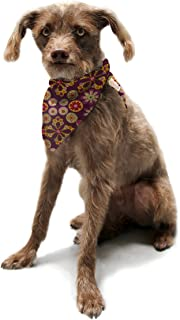 "Kess InHouse Jane Smith""Indian Jewelry Floral"" Purple Gold Pet Bandana and Scarf, 28 by 20 by 20-Inch"
