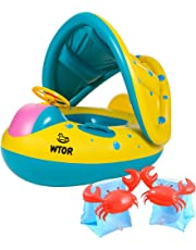 WTOR 浮き輪+アームリングX2 子供 ベビー 幼児用 腕輪 補助 座付き 足入れ式 水遊び プール 海用 (3個セット)