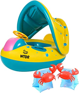 WTOR 3Pcs Baby Pool Float with Canopy Inflatable Arm Bands Swimming Pool Floats Toys Infant Swimming Ring for Toddlers
